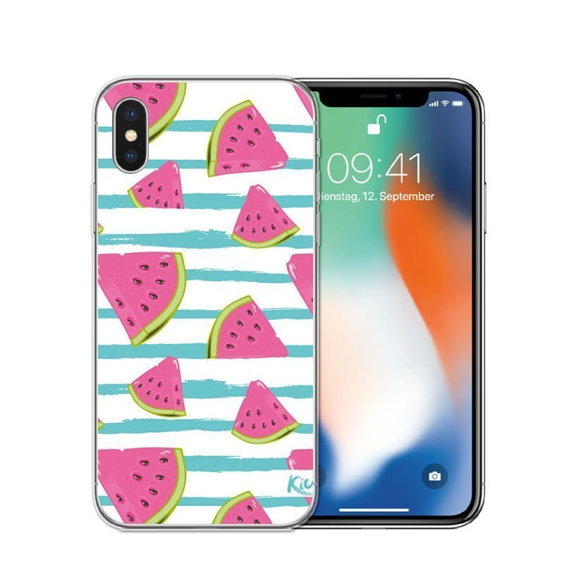 wholesale iphone case-clear-watermelon-blue stripe