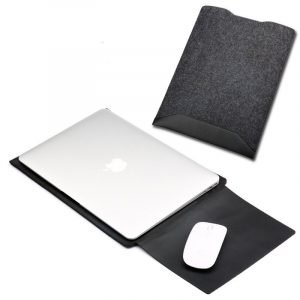 leather macbook sleeve bag with felt black