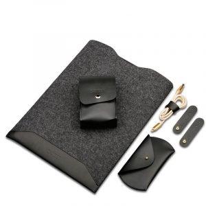 leather macbook sleeve, black