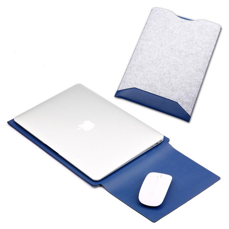 leather macbook sleeve bag with felt blue