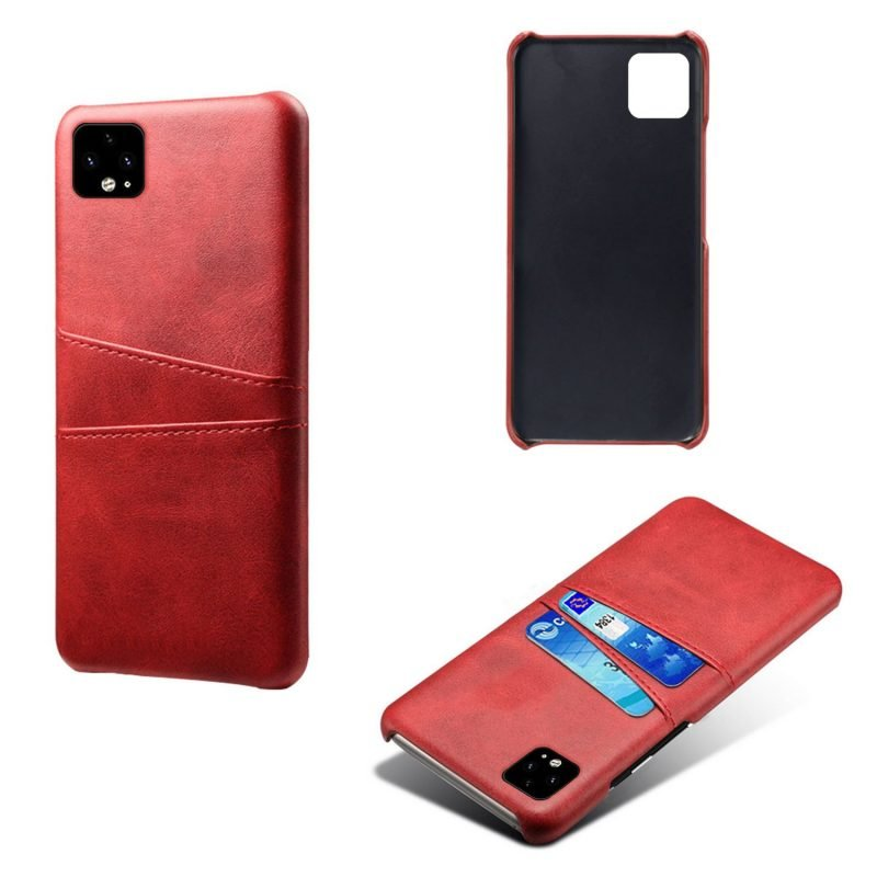 google pixel 4 case wallet, red leather