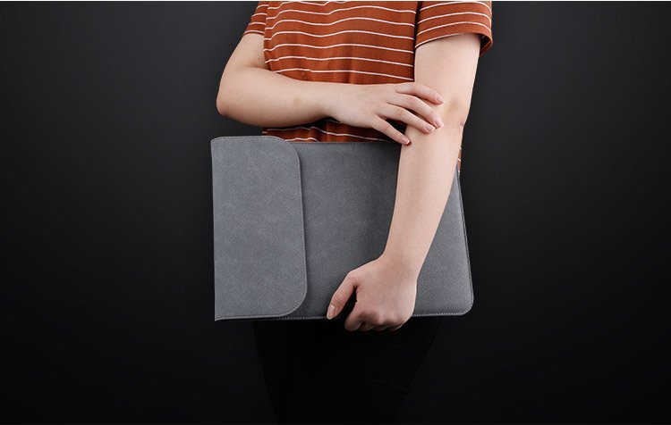 leather laptop sleeve bag, grey