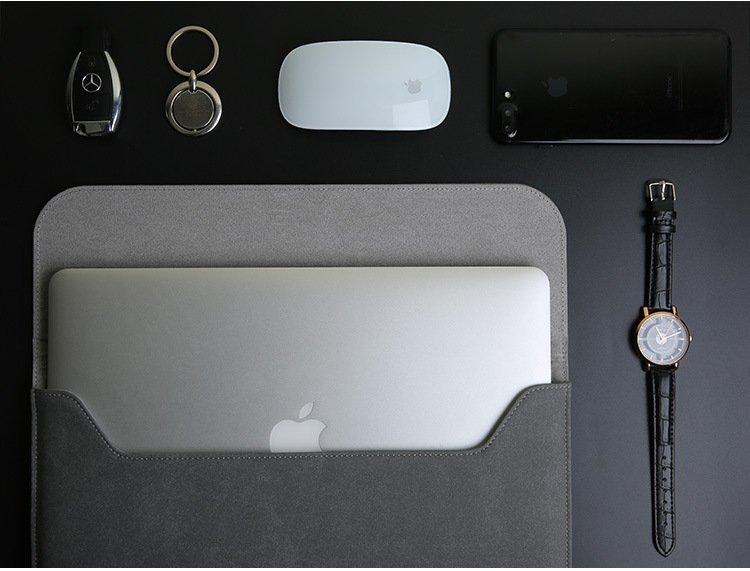 leather macbook air / pro sleeve bag, grey