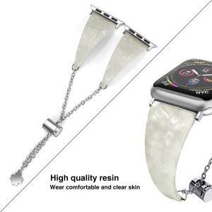 white pearl shell apple watch band-lovingcase