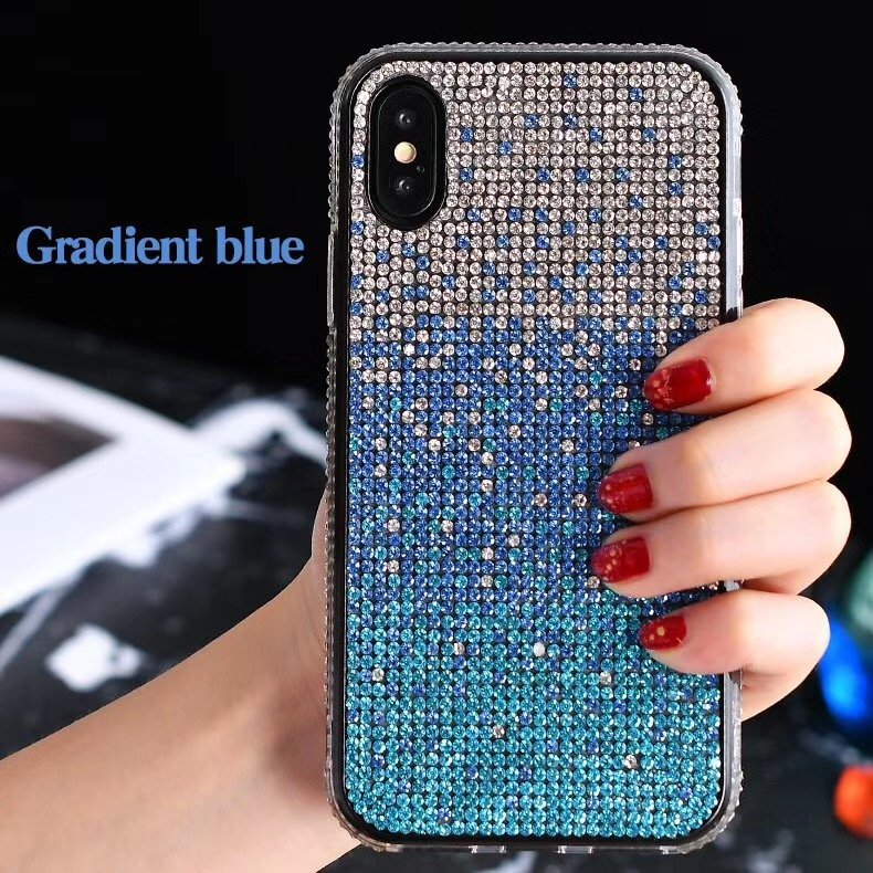 glitter iphone case, crystal rhinestone -blue