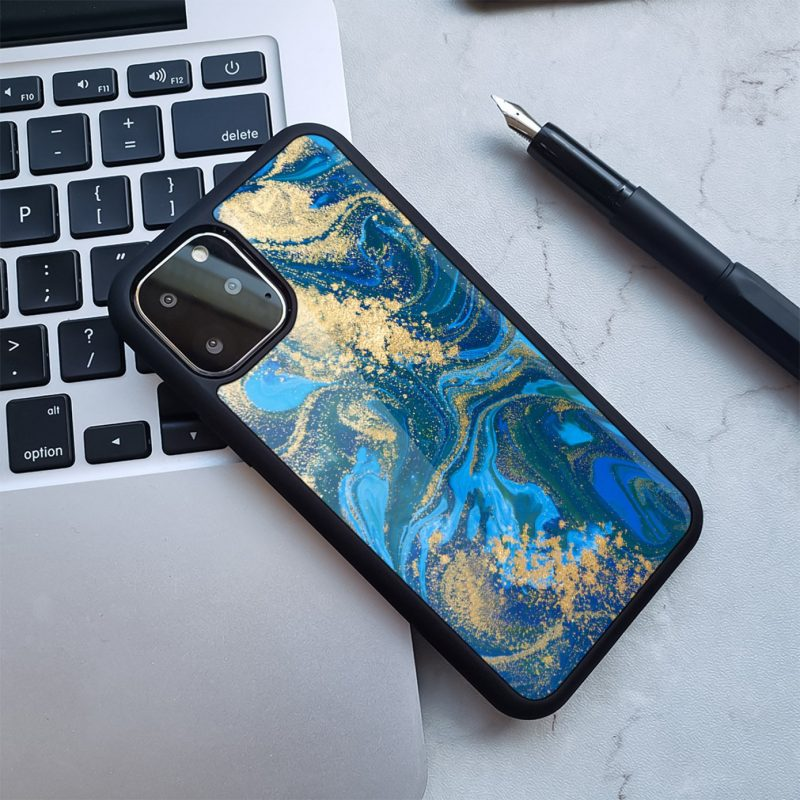 blue marble with golden shimmer iphone cases