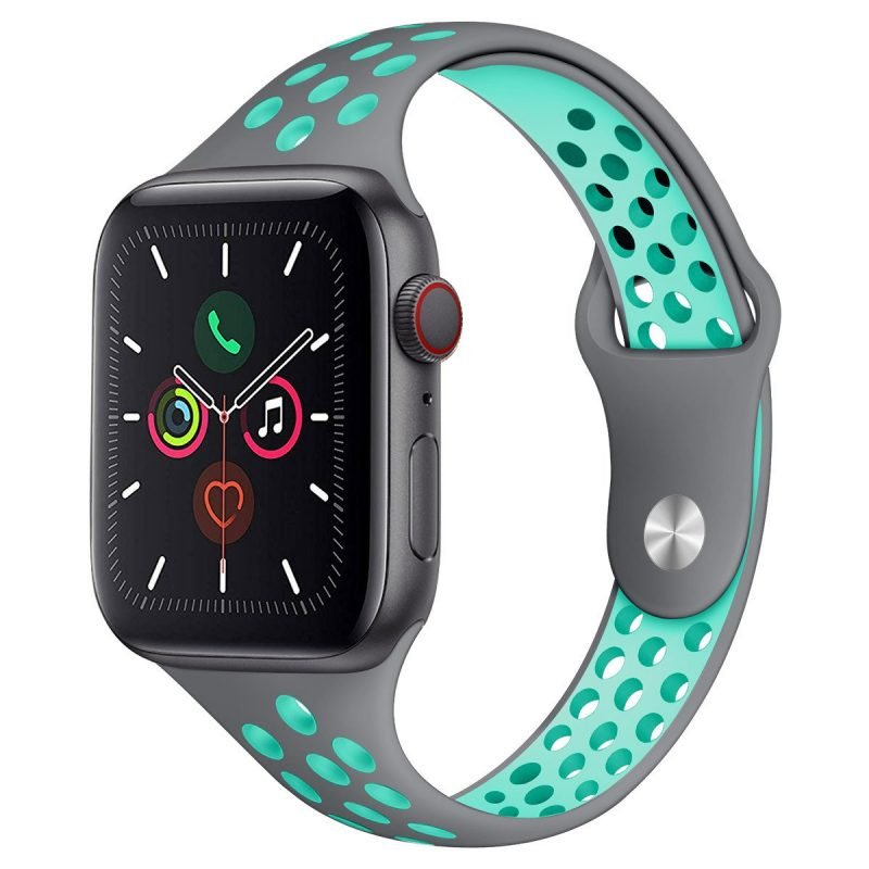 grey and baby blue silicone apple watch band, custom