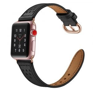 fashion leather apple watch band black- wholesale supplier