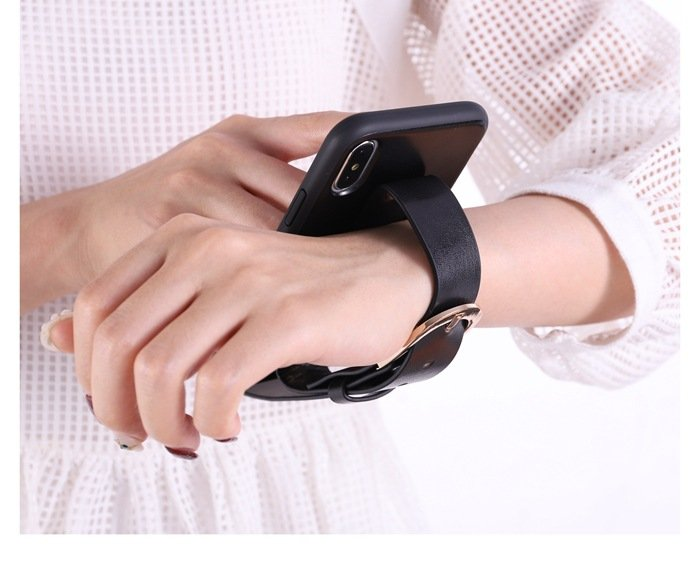 black leather iphone cases wholesale- wrist band-grip-stand