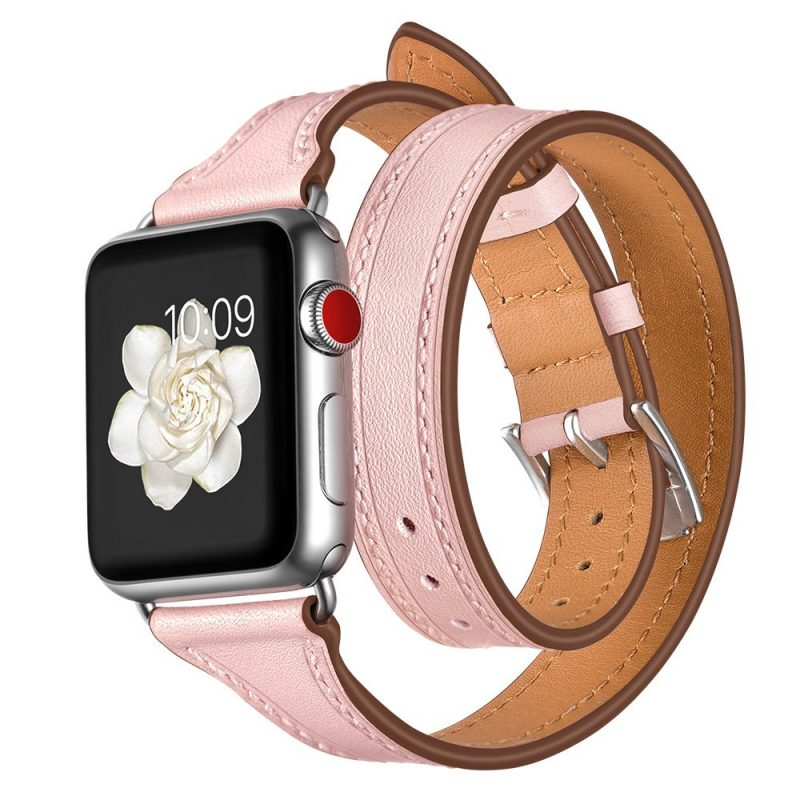 pink leather apple watch strap band, double wrap, wholesale