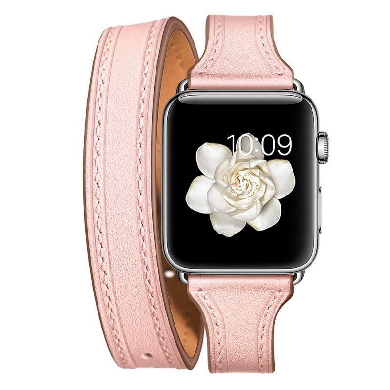 pink leather apple watch band- lovingcase wholesale