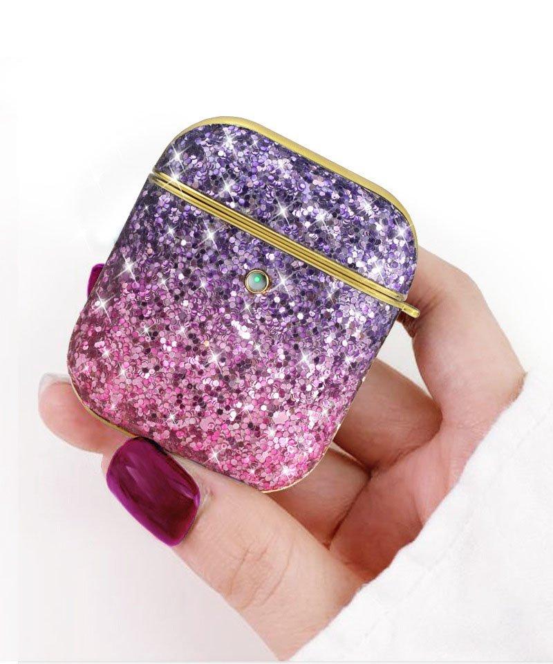 airpods pro case - glitter purple