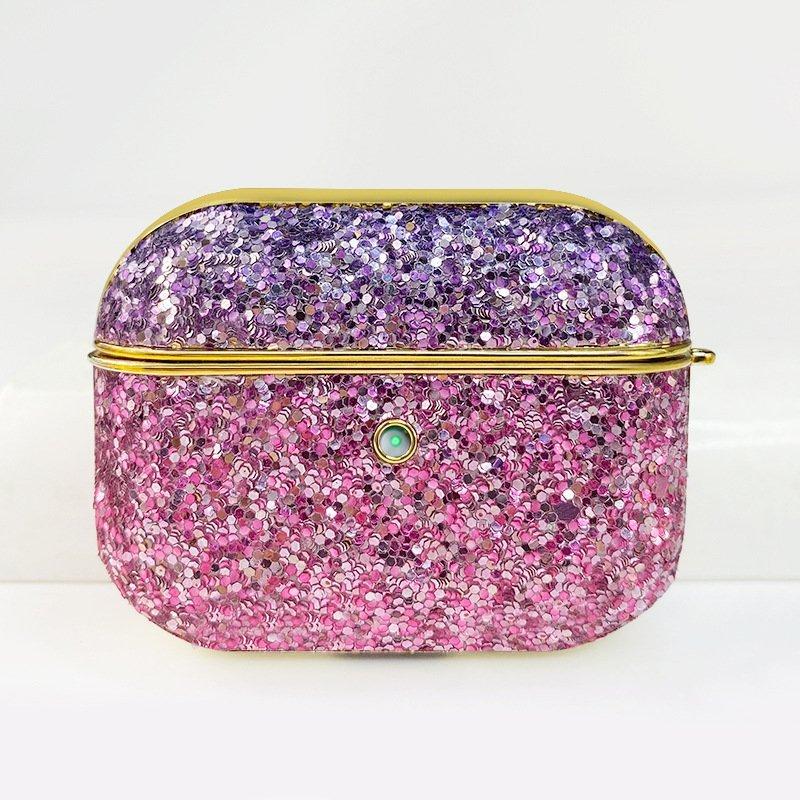 airpods pro case-glitter purple