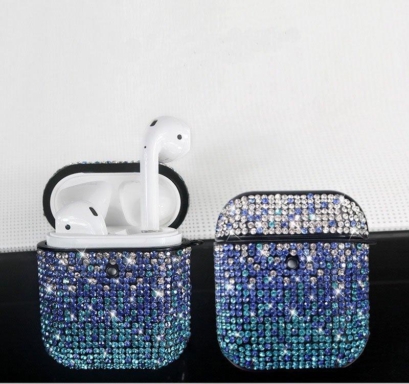 glitter airpods case, blue rhinestone