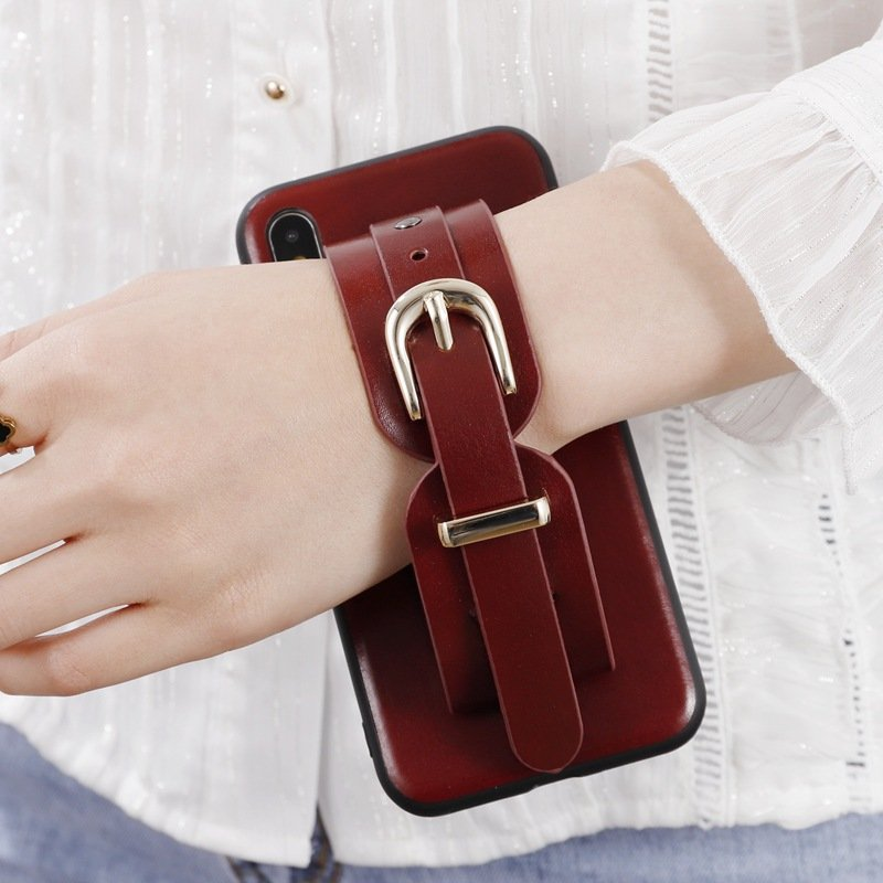 wine leather iphone cases- wrist band- grip-stand