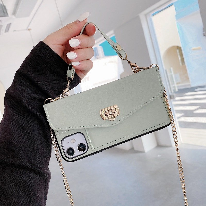 mint leather phone case purse with gold chain strap, lovingcase