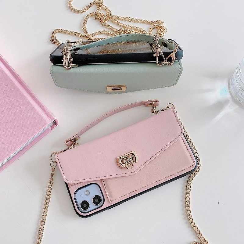 leather iphone case wallet with chain strap, lovingcase