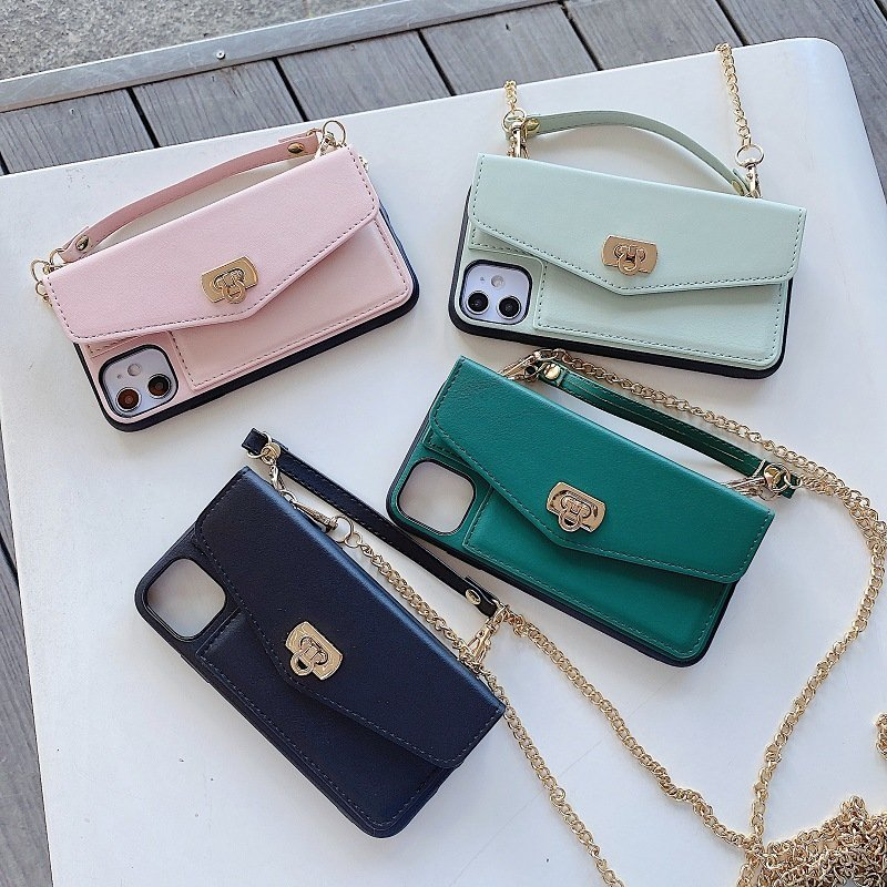 leather phone case wallet with chain strap, lovingcase