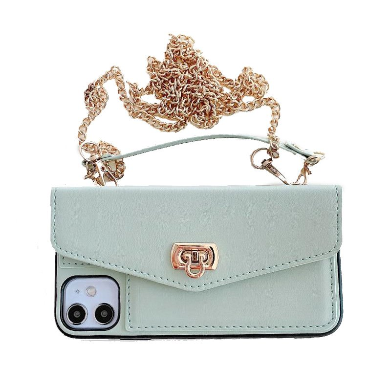 mint leather cell phone case purse with chain strap