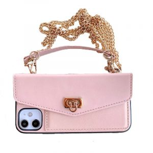 pink leather cell phone case purse / wallet with crossbody chain strap