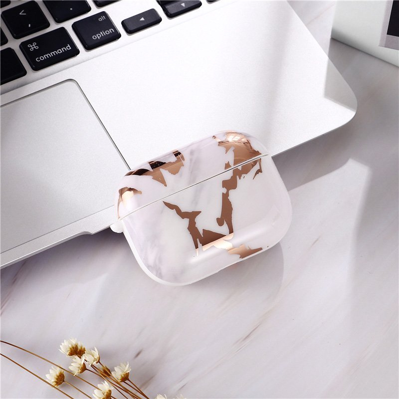 milky marble print airpods por case - lovingcase wholesale