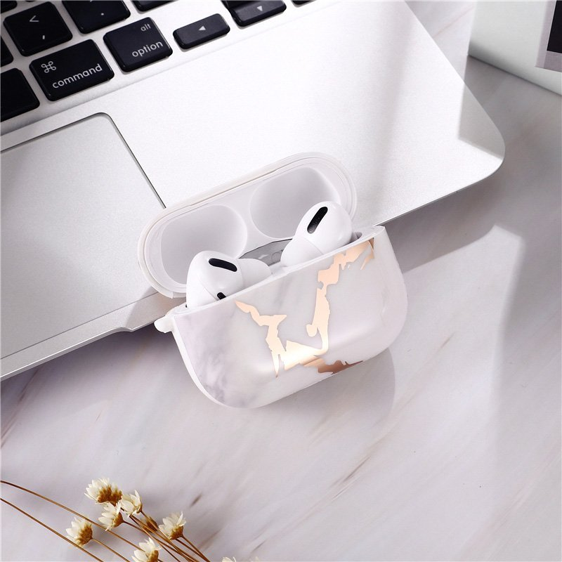 airpods pro case in gold and marble print- wholesale & custom