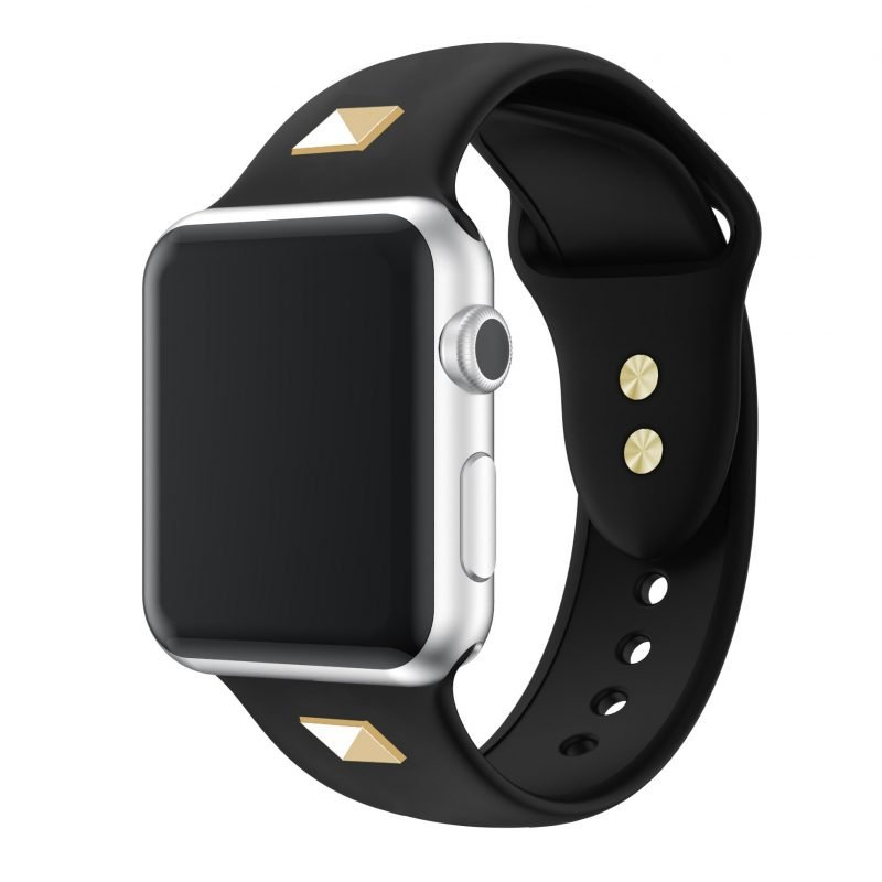 black silicone strap-studded apple watch band, 42-44MM