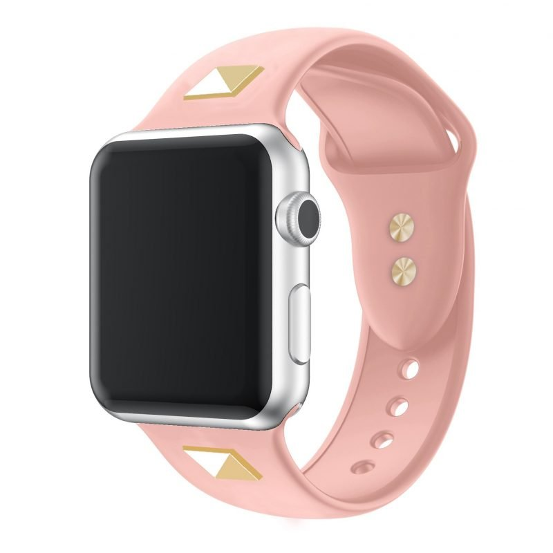 pink strap- studded silicone apple watch band