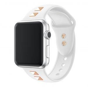 white strap- punk style studded apple watch band