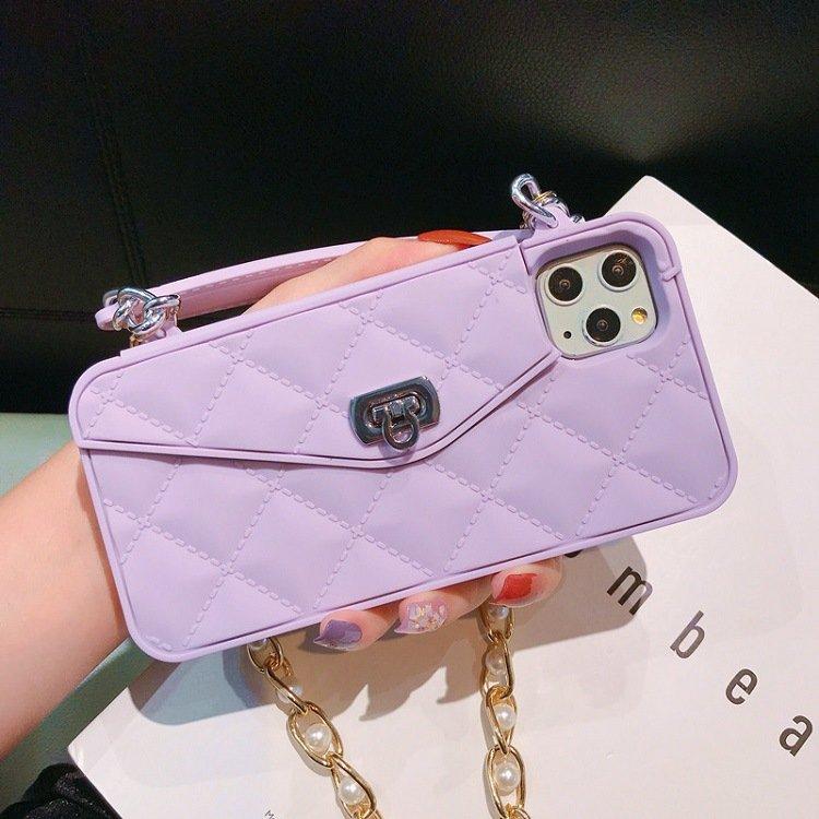 purple iphone case wallet - mini handbag style- lovingcase wholessale