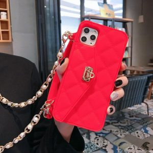 red silicone iphone case wallet- lovingcase