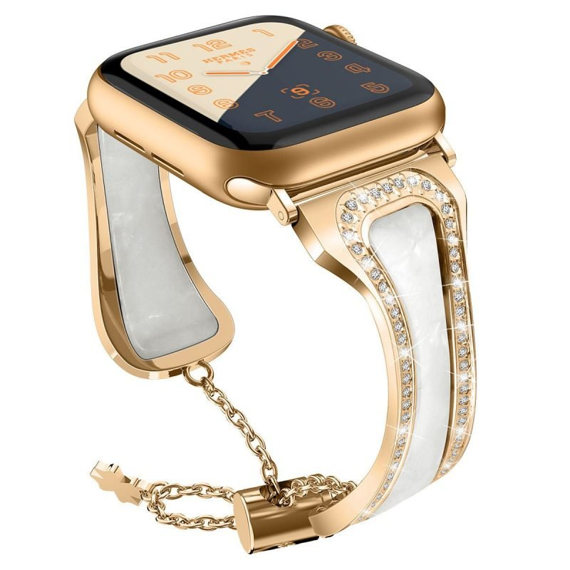 pearl shell apple watch band- gold- lovingcase