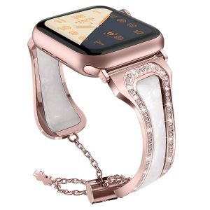 white pearl shell apple watch band - rose gold-lovingcase