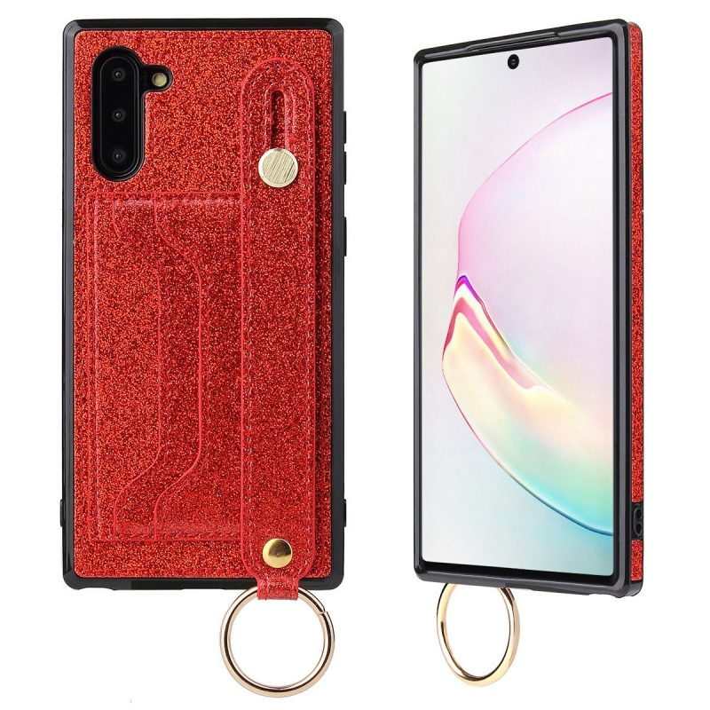 samsung glittering phone case wallet case -red - with phone grip band