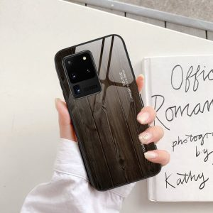 black wood pattern tempered glass phone case - wholesale