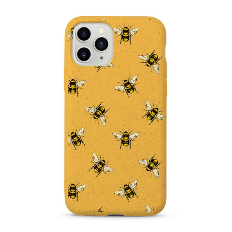 100% compostable phone case with printed bee