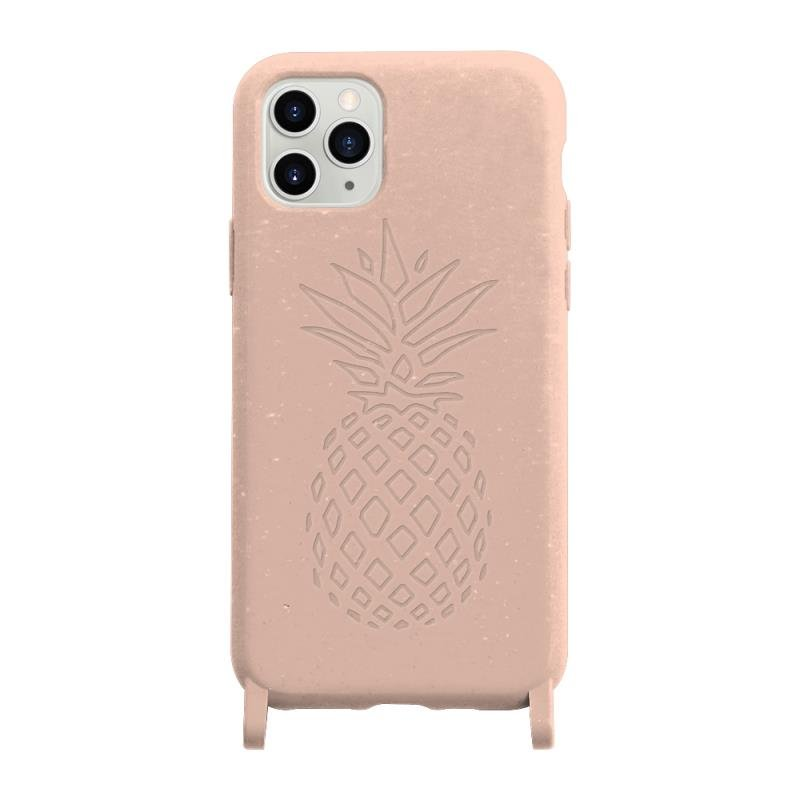 pink compostable iphone 11 phone case with printed pineapple, wholesale / custom