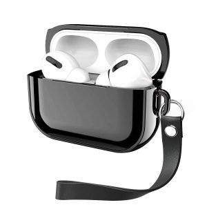 black metal look airpods pro case, with wristband, lovingcase