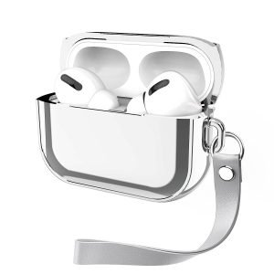 silver metal look airpods pro case with wristband, lovingcase wholesale