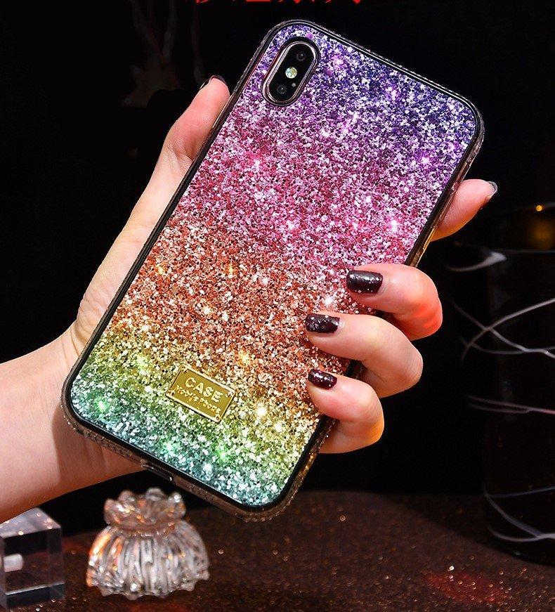 custom glittering rainbow iphone case