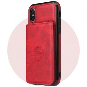 leather wallet iphone case with magnetic mount, wholesale lovingcase | red leather
