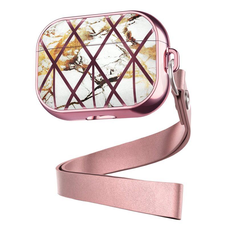 pink marble airpods pro case, premium case custom, lovingcase