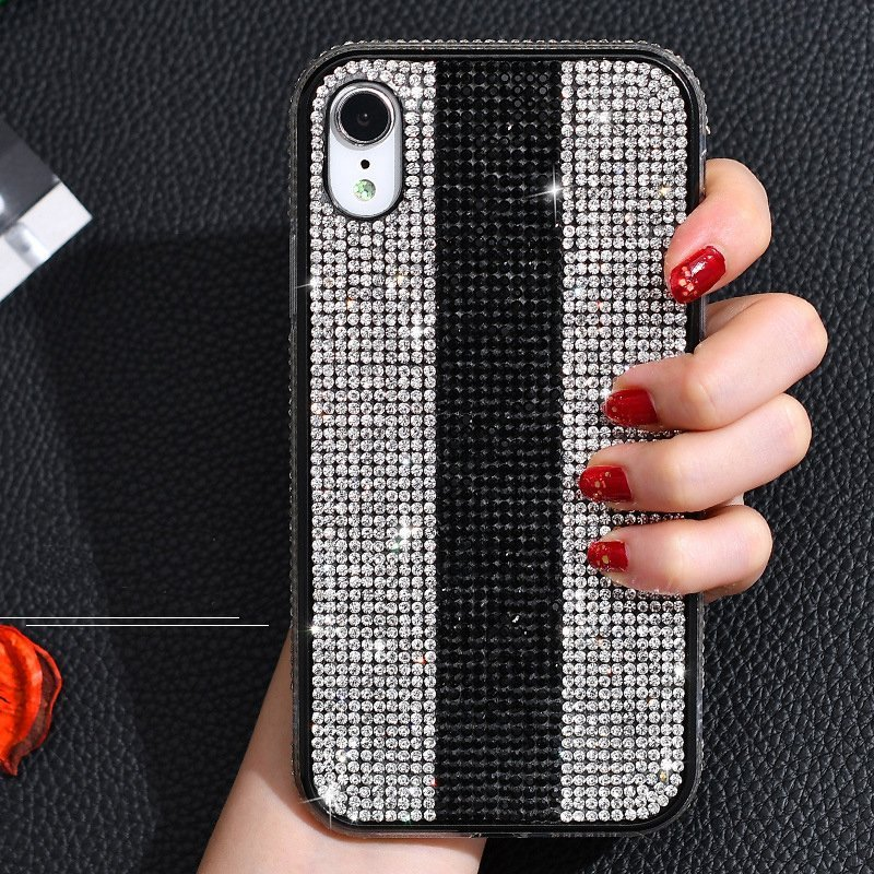rhinestone iphone case silver-black