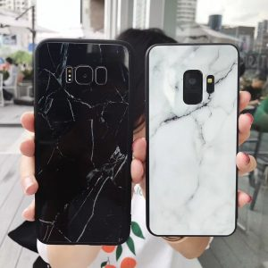 tempered glass marble casee for samsung