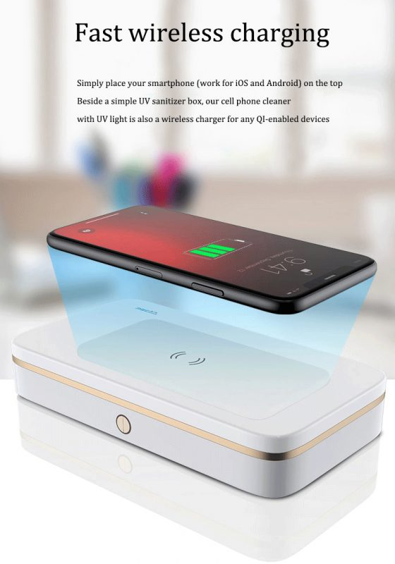 2020 uv sanitizer box for smartphone, with wireless charging and powerbank, wholesale