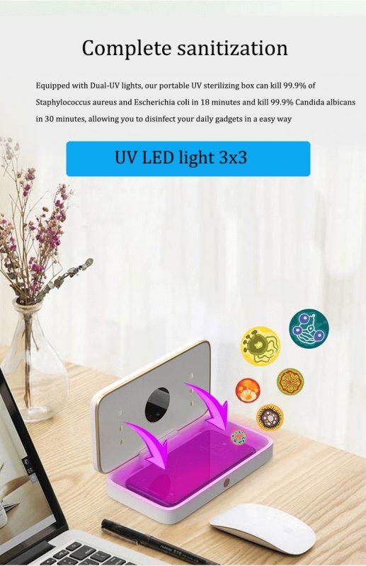 uv sanitizing box with wireless charging and power bank , lovingcase wholesale and custom