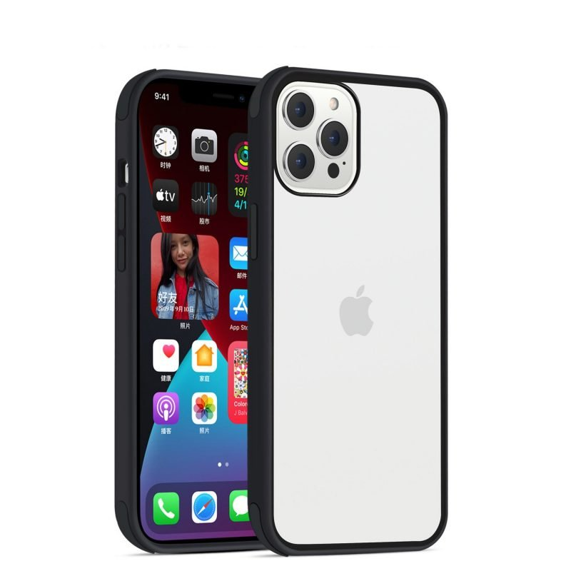 acrylic clear cell phone cases, with silicone edge, shockproof, lovingcase wholesale supplier - black