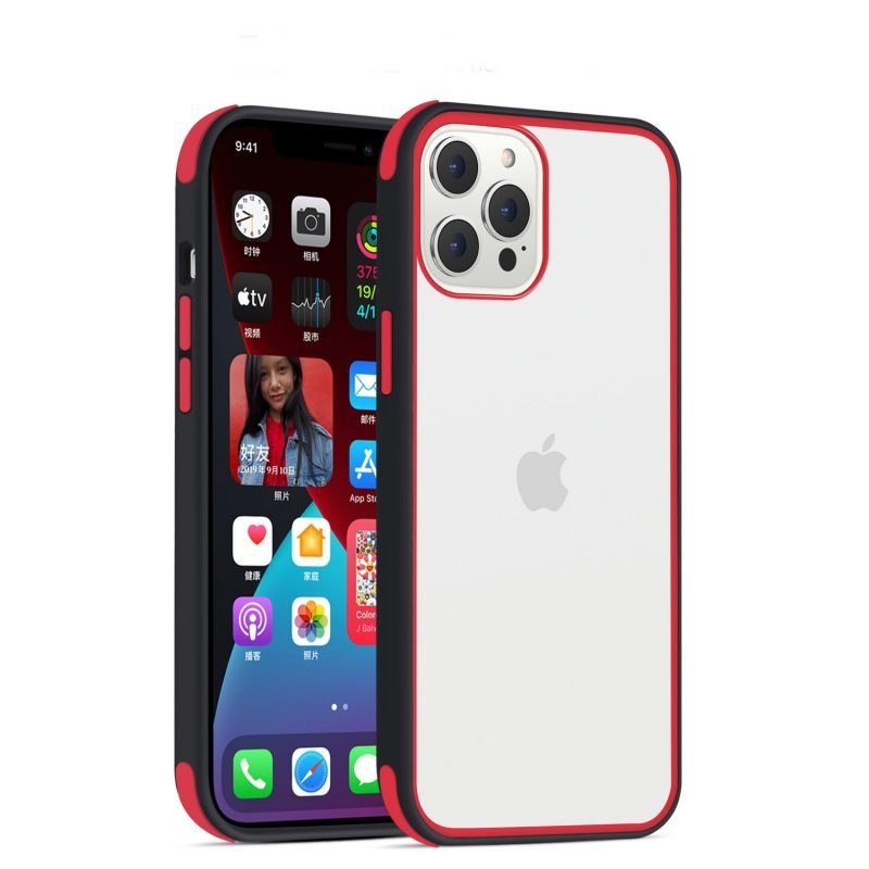 acrylic clear cell phone cases, with silicone edge, shockproof, lovingcase wholesale supplier - black + red