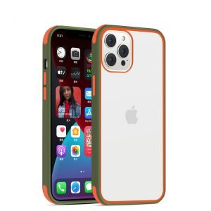 acrylic clear cell phone cases, with silicone edge, shockproof, lovingcase wholesale supplier - military green