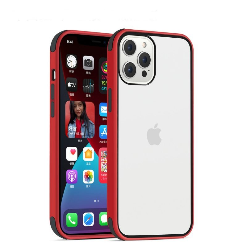 acrylic clear cell phone cases, with silicone edge, shockproof, lovingcase wholesale supplier - red
